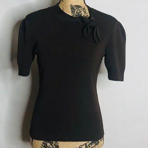 LOFT tie neck short sleeve top size Small